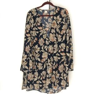 Navy floral deep V Dress with bell sleeves